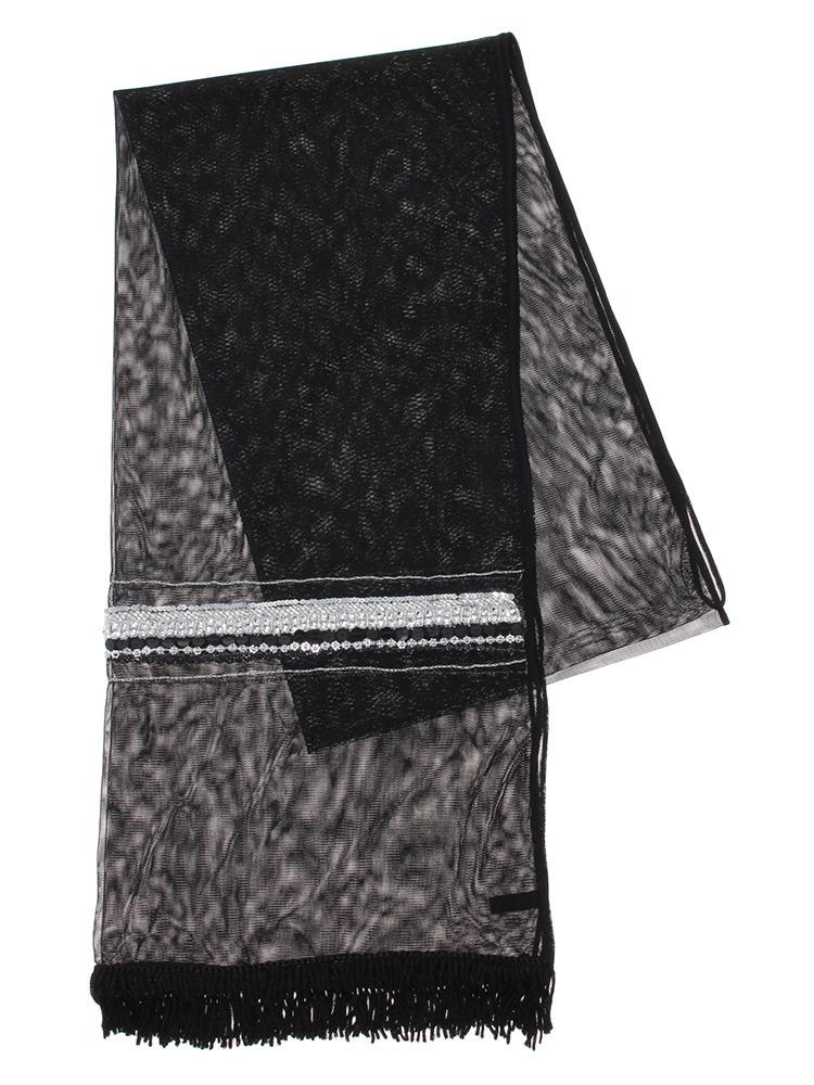 【GDS】 スパン刺繍チュールストール(ブラック-F)