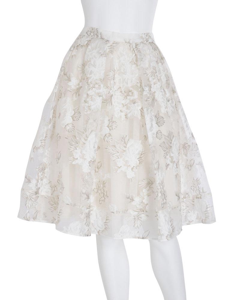 【DUO】 フラワーオーガンジースカート(オフホワイト-F)
