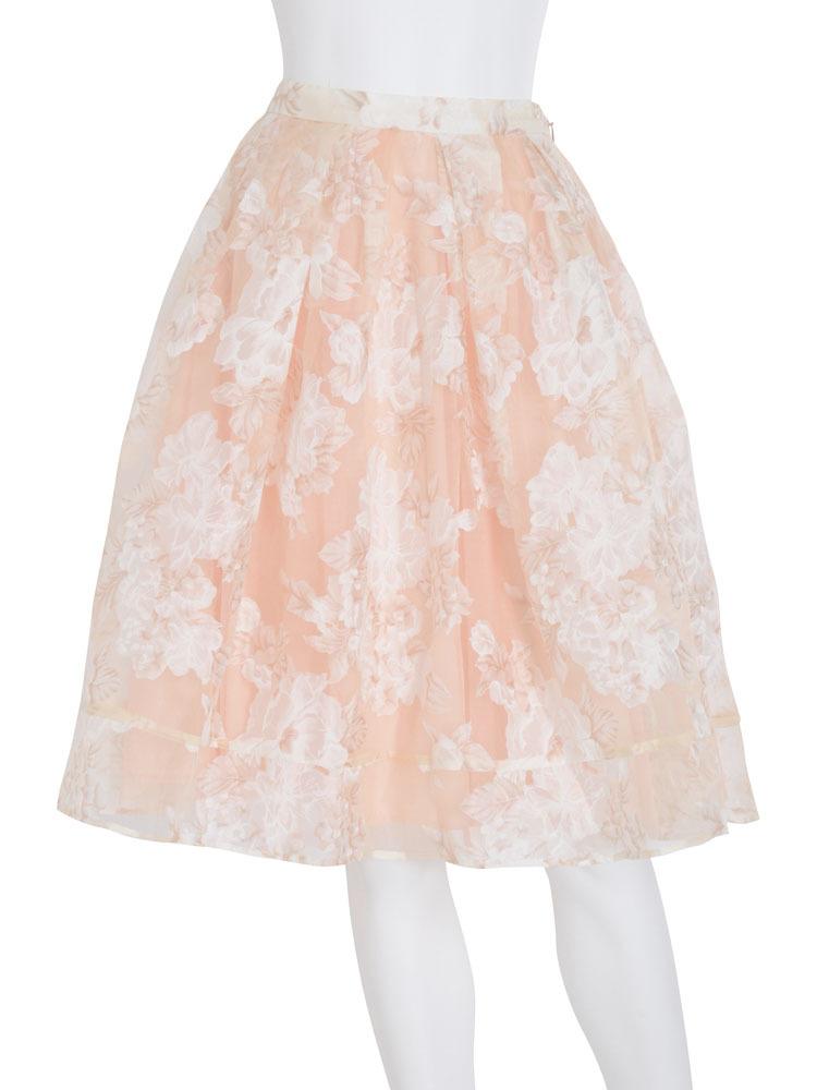 【DUO】 フラワーオーガンジースカート(ベビーピンク-F)