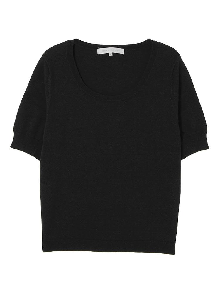 【BSC】 CRベーシッククルー半袖ニット(ブラック-S)