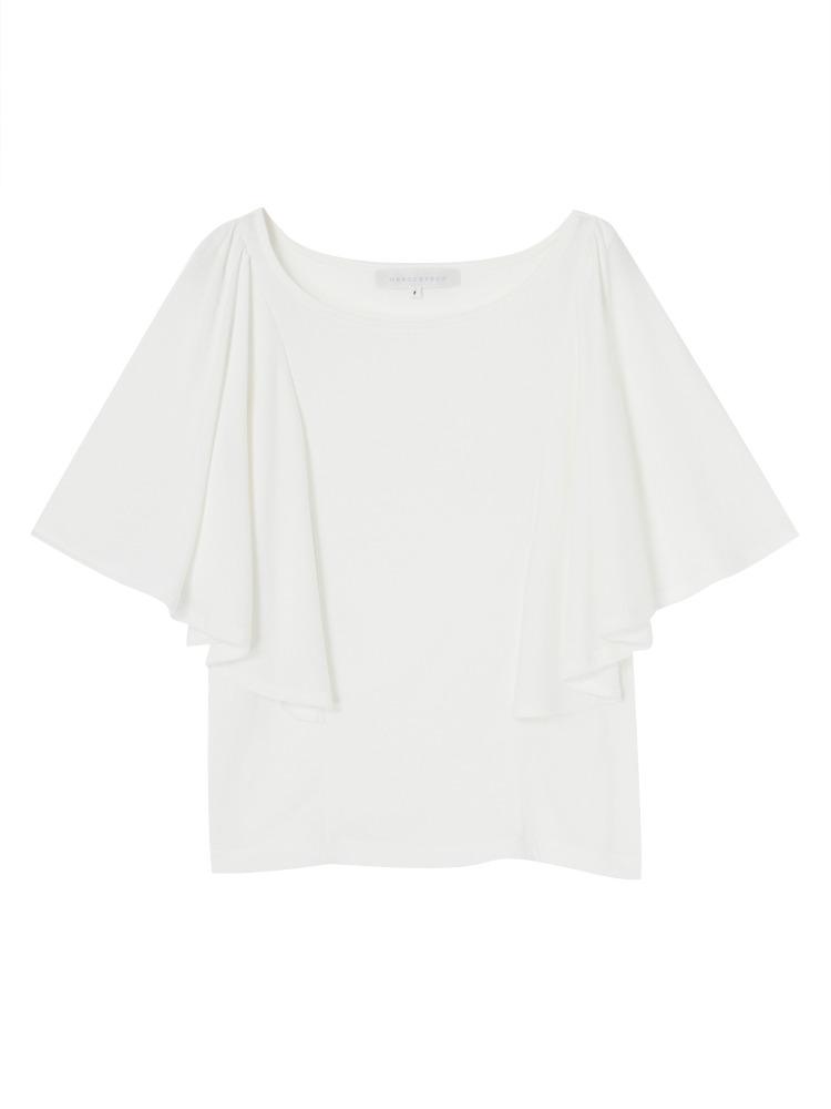 【DUO】 T/Rケープスリーブカットソー(オフホワイト-F)