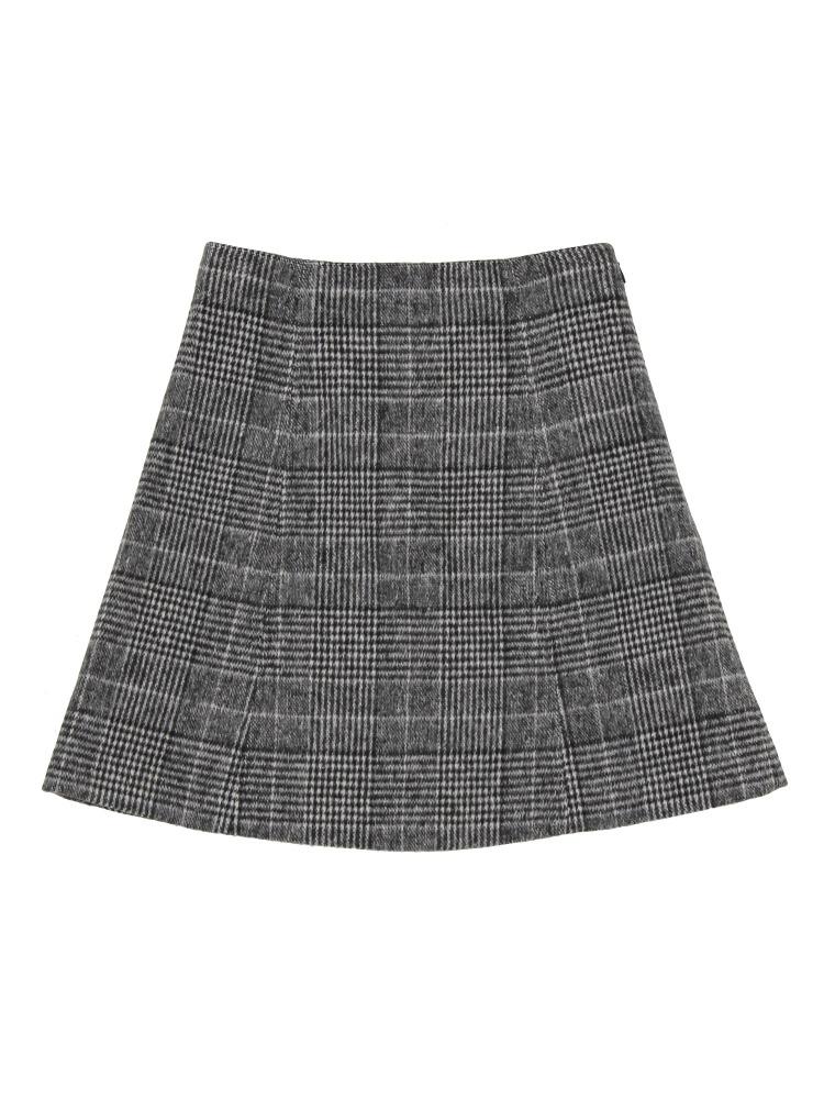 グレンチェック台形ミニスカート(ブラック-S)