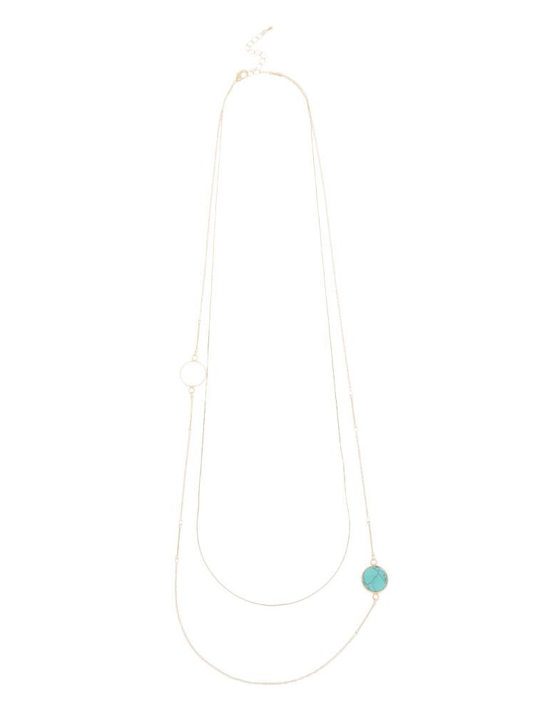 天然石×フープ2連ネックレス