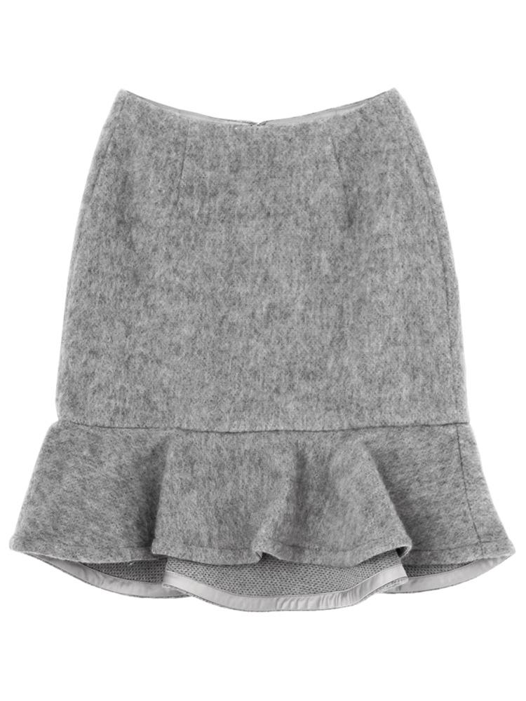 シャギーペプラムスカート(グレー-S)