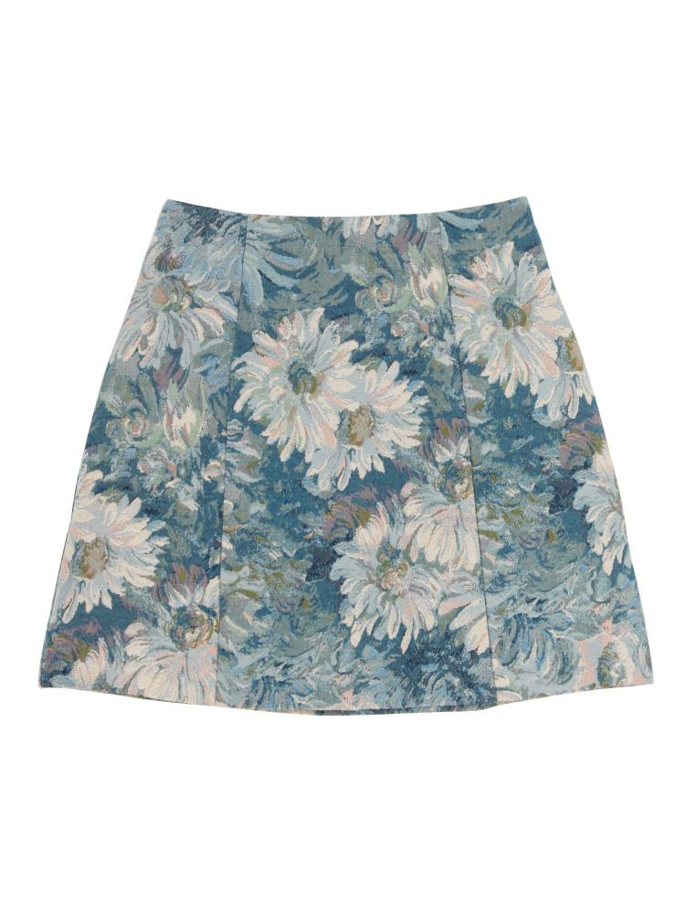 ゴブラン柄台形スカート(ブルー-S)