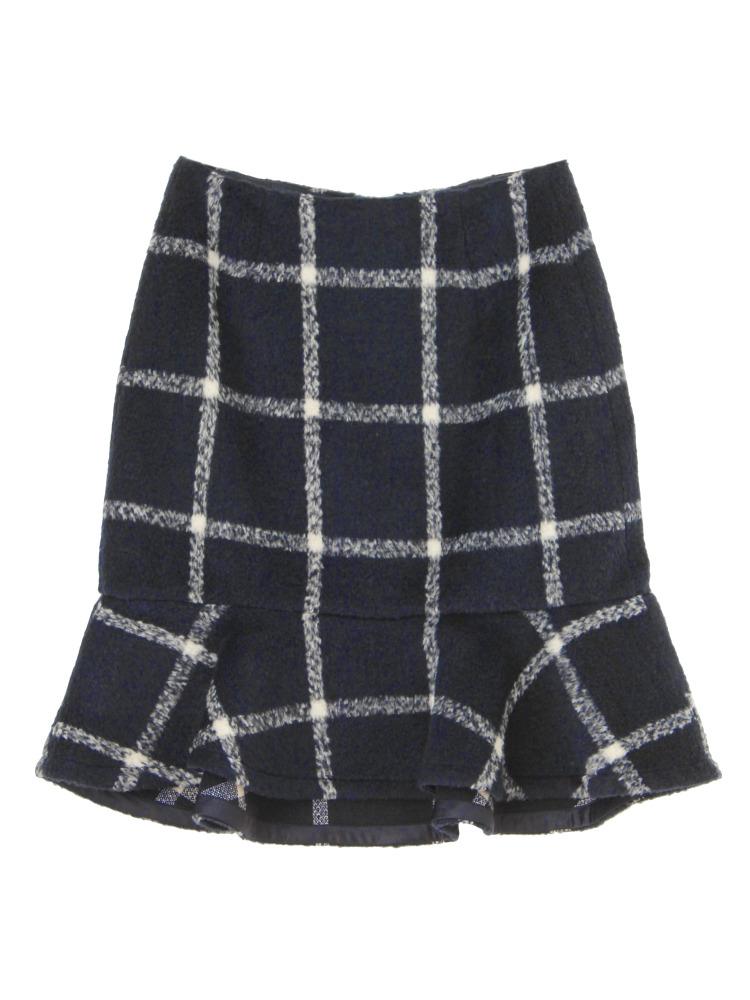 シャギーチェックペプラムスカート(ネイビー)(ネイビー-S)