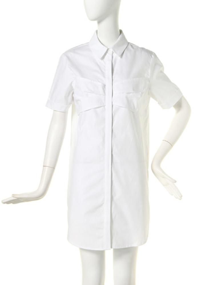【BASIC】リボンポケットシャツOP(ホワイト-1)