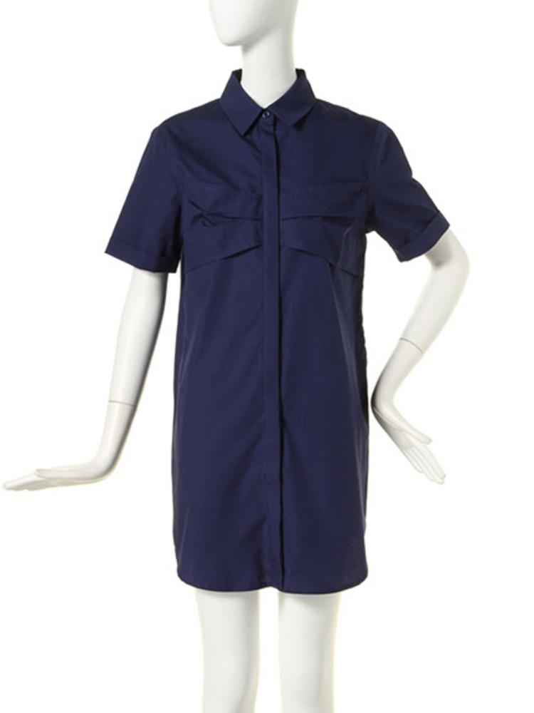 【BASIC】リボンポケットシャツOP(ネイビー-1)