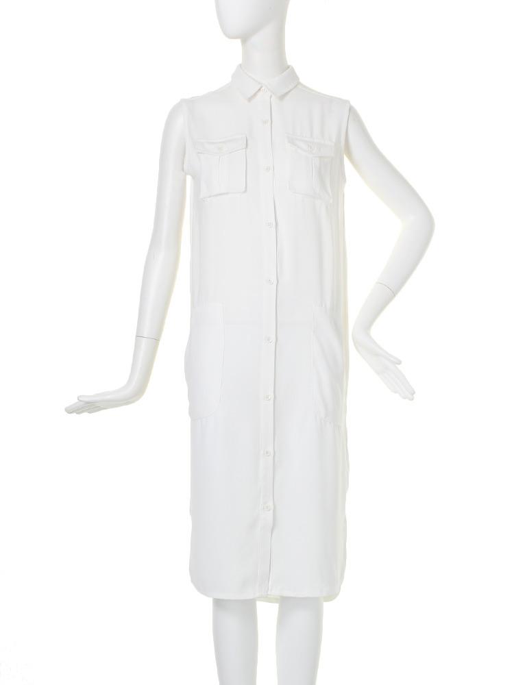 【BASIC】ポケットディティールシャツ/ワンピース(オフホワイト-F)