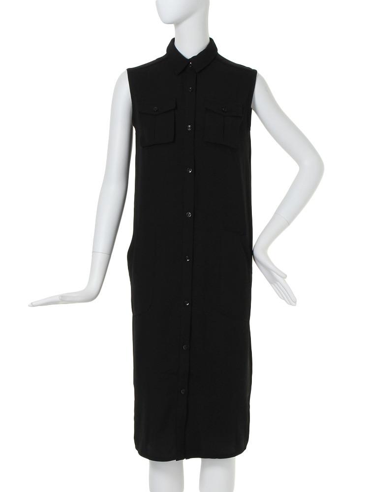 【BASIC】ポケットディティールシャツ/ワンピース(ブラック-F)