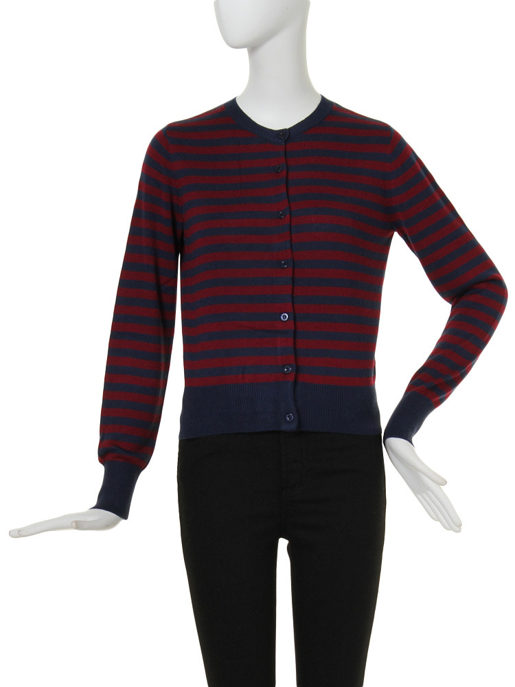 【CASUAL】smooth skinny knit (border CD)(ボルドー-F)