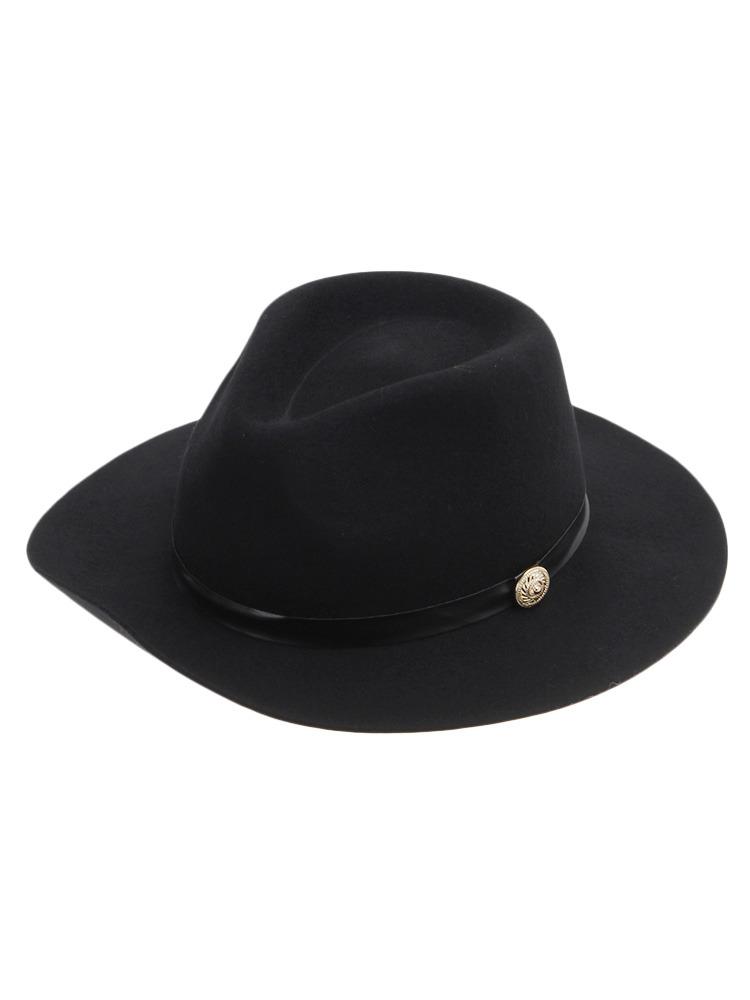 【CASUAL】モチーフ付き中折れハット帽(ブラック-F)