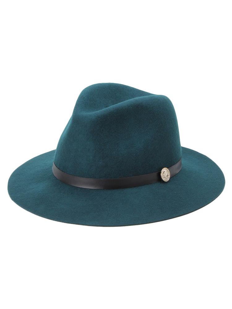 【CASUAL】モチーフ付き中折れハット帽(グリーン-F)