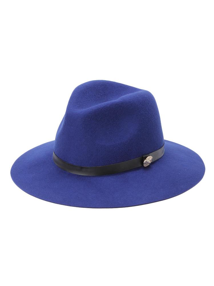 【CASUAL】モチーフ付き中折れハット帽(ネイビー-F)