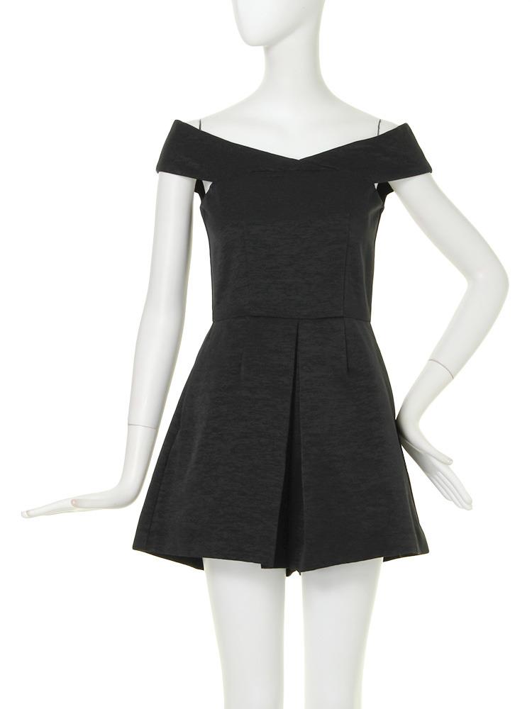 【DRESS】オフショルデザインロンパース(ブラック-1)