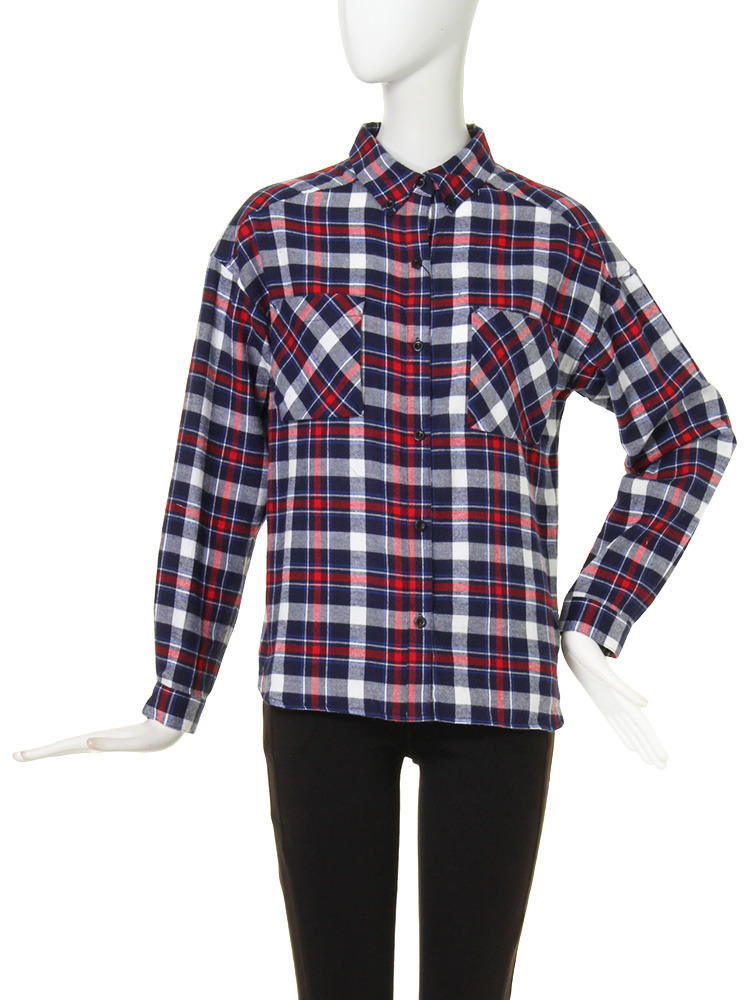 【CASUAL】PLANEチェックシャツ(レッド-F)
