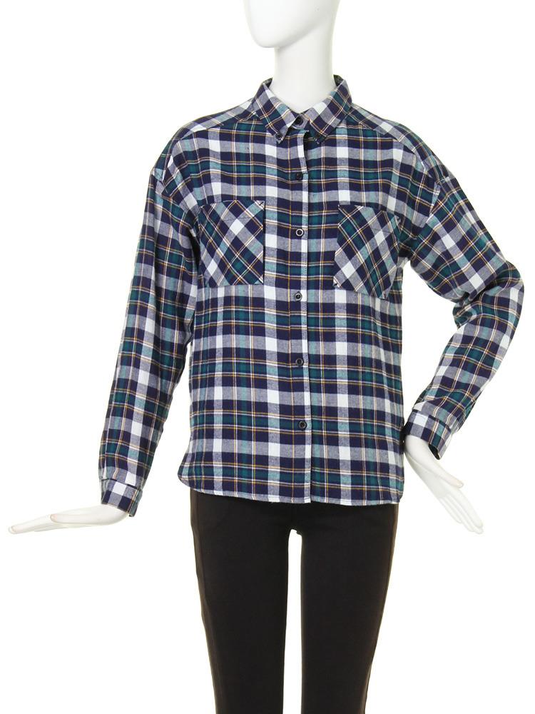 【CASUAL】PLANEチェックシャツ(グリーン-F)