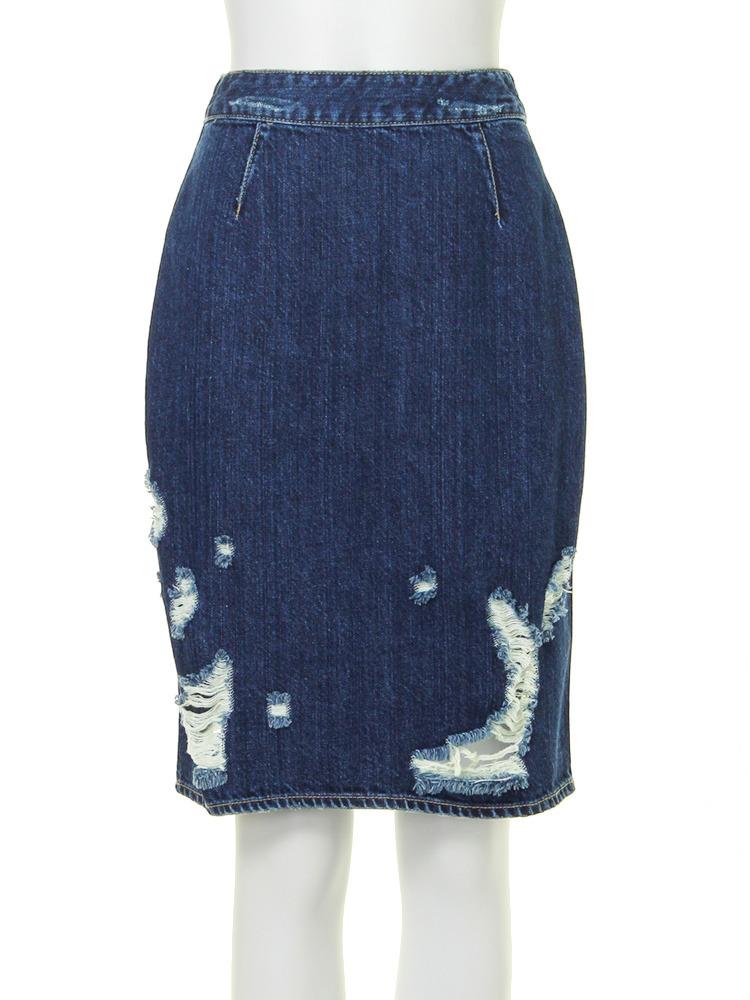 【CASUAL】クラッシュデニムタイトスカート(ブルー-0)
