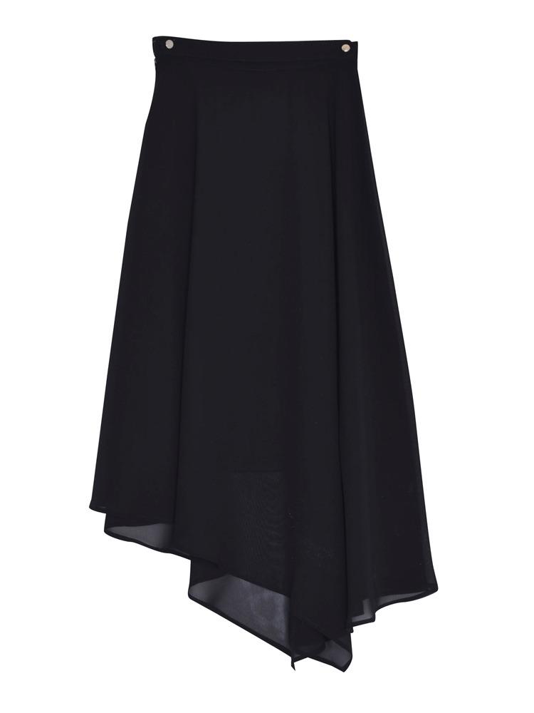 【FEMININE】エアリーイレヘムスカート(ブラック-F)