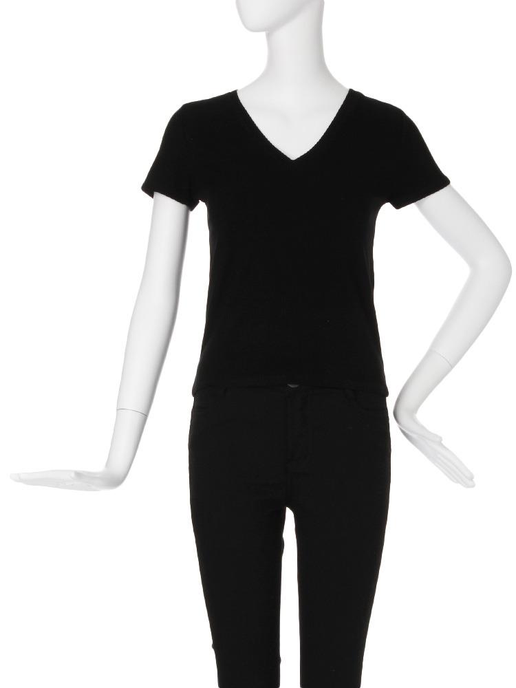 【CASUAL】テレコTシャツ(ブラック-F)