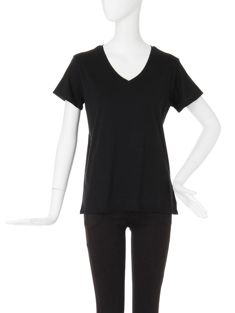 【CASUAL】BASIC VネックTシャツ(ブラック-F)