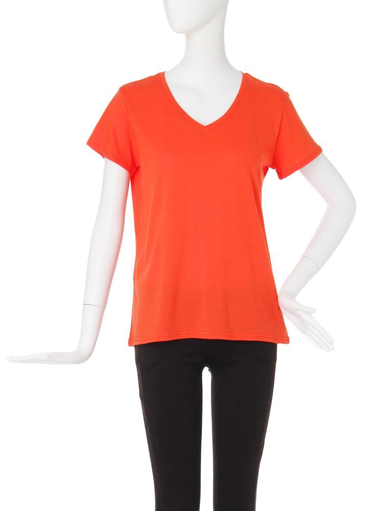 【CASUAL】BASIC VネックTシャツ(オレンジ-F)