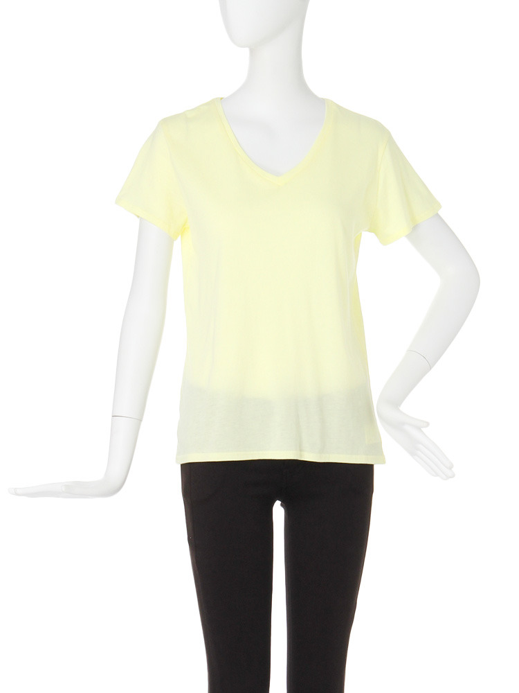 【CASUAL】BASIC VネックTシャツ(イエロー-F)