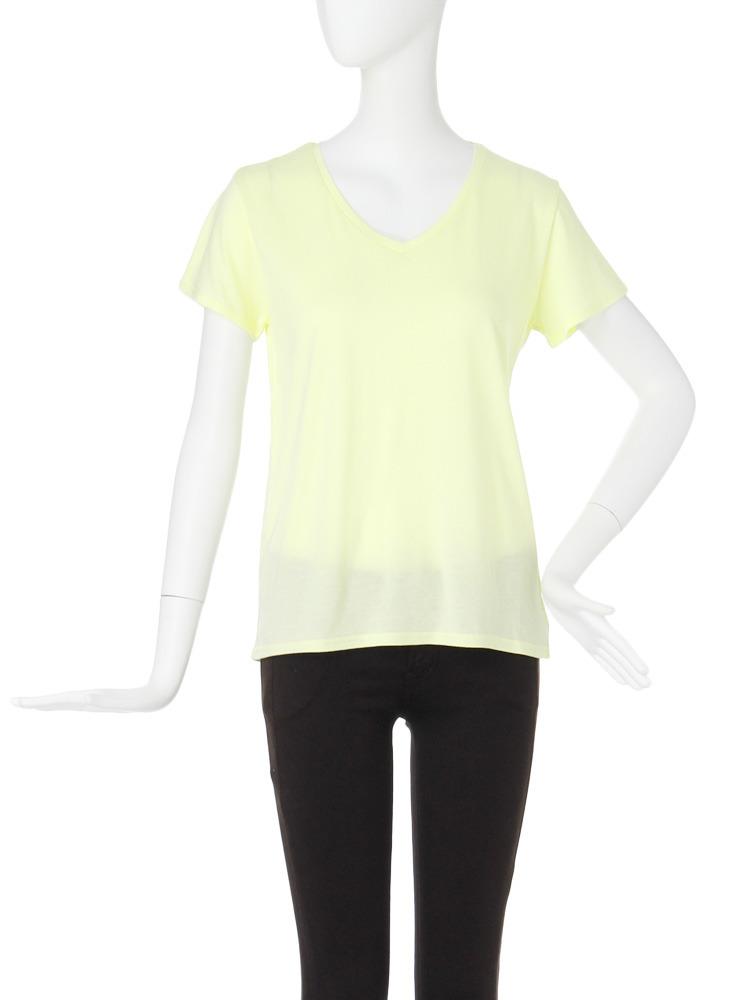 【CASUAL】BASIC VネックTシャツ(ライム-F)