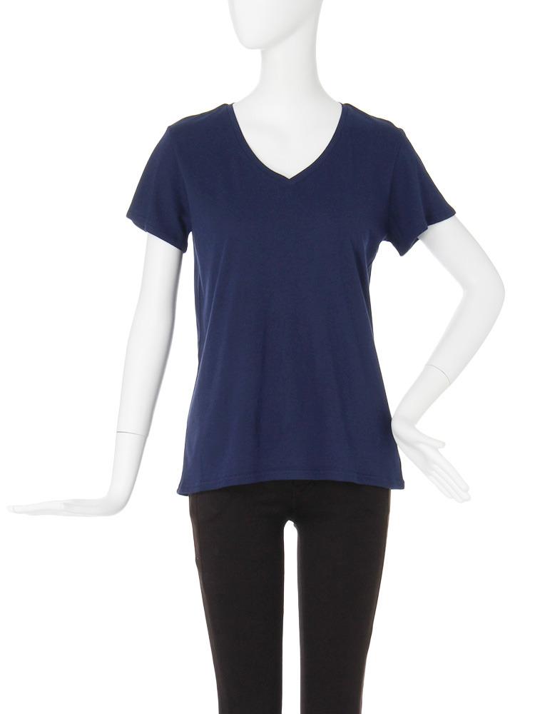 【CASUAL】BASIC VネックTシャツ(ネイビー-F)