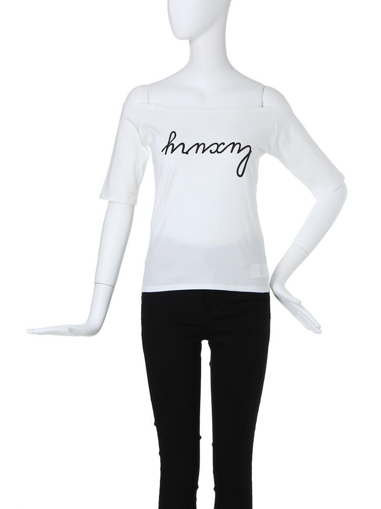 【CASUAL】ロゴオフショルTシャツ(ホワイト-F)