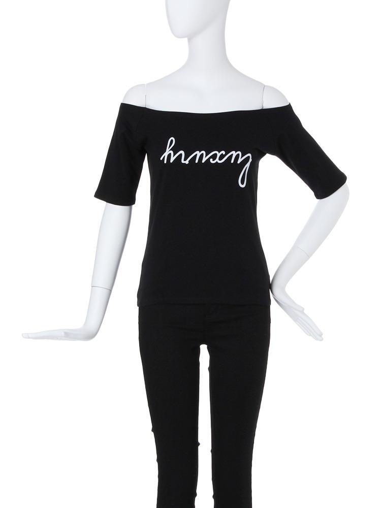 【CASUAL】ロゴオフショルTシャツ(ブラック-F)