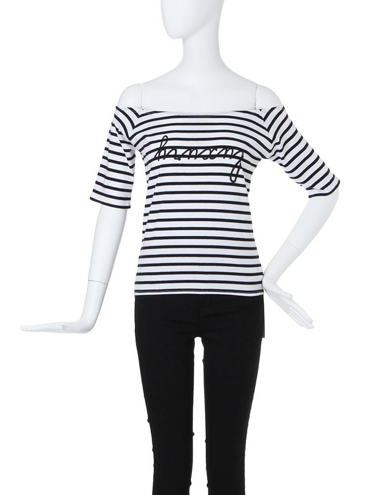 【CASUAL】ロゴオフショルTシャツ(ミックス-F)