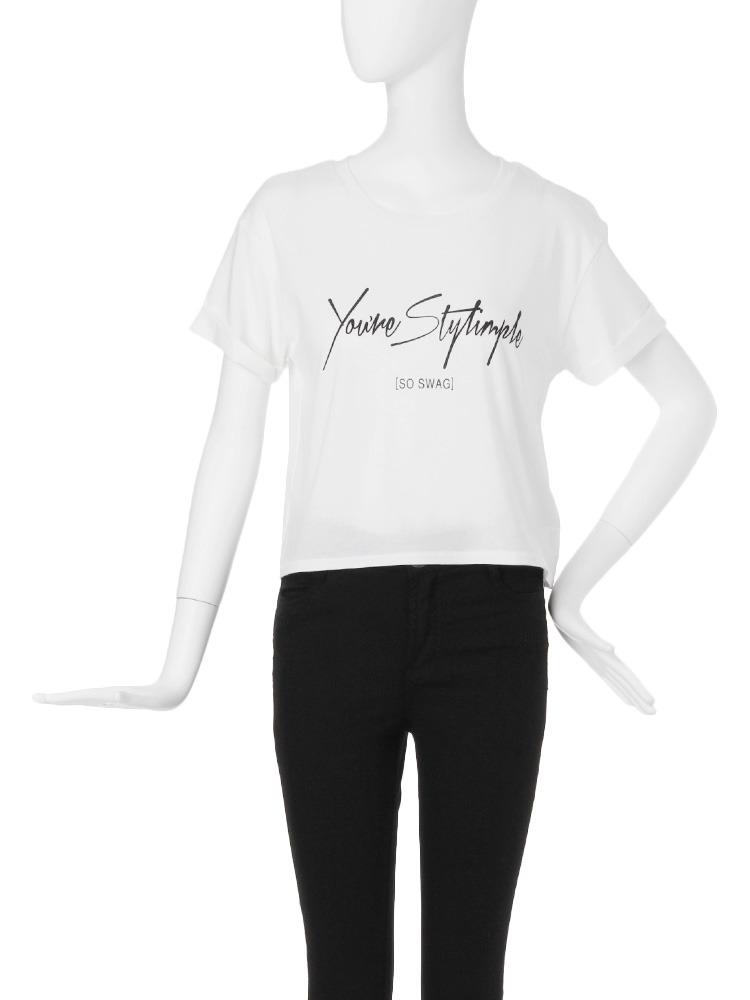 【CASUAL】シンプルロゴショートTシャツ(ホワイト-F)