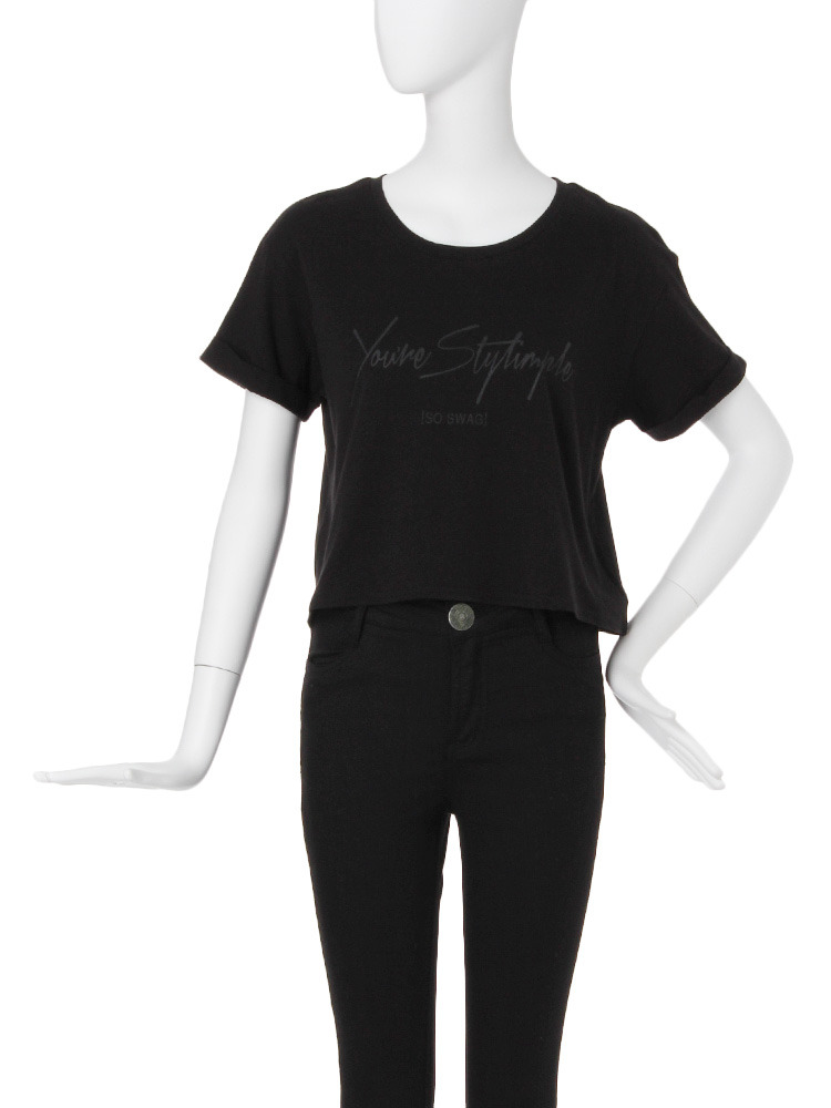 【CASUAL】シンプルロゴショートTシャツ(ブラック-F)