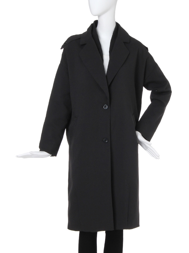 【CASUAL】レイヤードロングジャケット(ブラック-F)