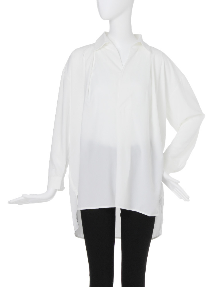 【CASUAL】スキッパーシャツ(ホワイト-F)