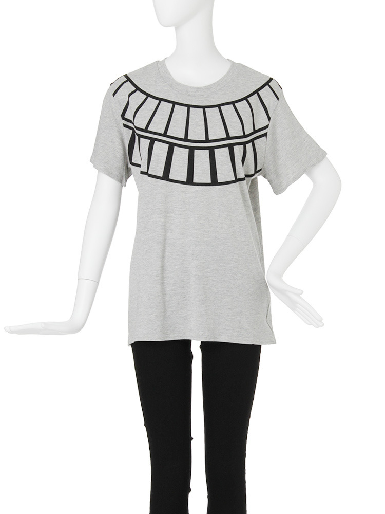【CASUAL】ラダープリントTシャツ(グレー-F)
