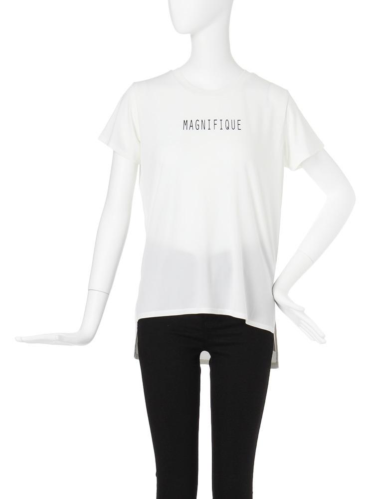 【CASUAL】ヘムスリットロゴTシャツ(ホワイト-F)