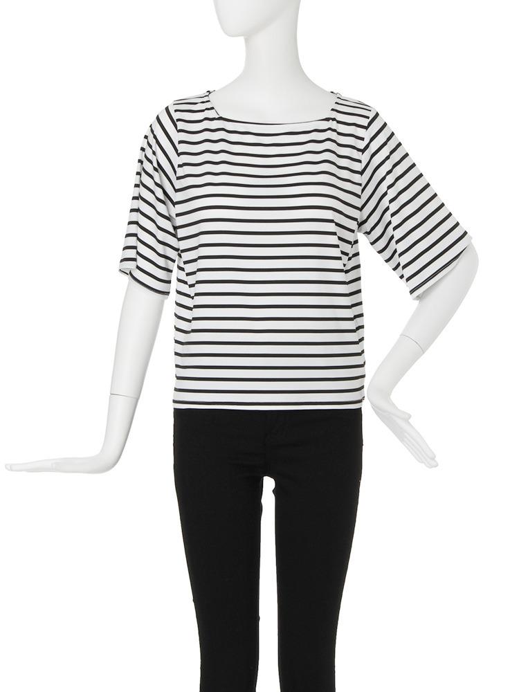 【CASUAL】スクエアネックボーダーTシャツ(ホワイト-F)