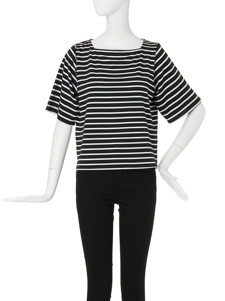 【CASUAL】スクエアネックボーダーTシャツ(ブラック-F)