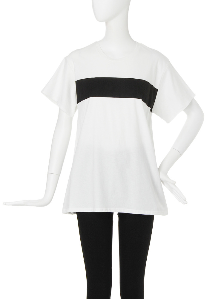 【CASUAL】バイカラーTシャツ(ホワイト-F)