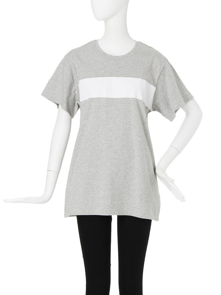 【CASUAL】バイカラーTシャツ(グレー-F)