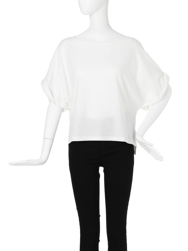 【CASUAL】ロールアップオーバーTシャツ(ホワイト-F)