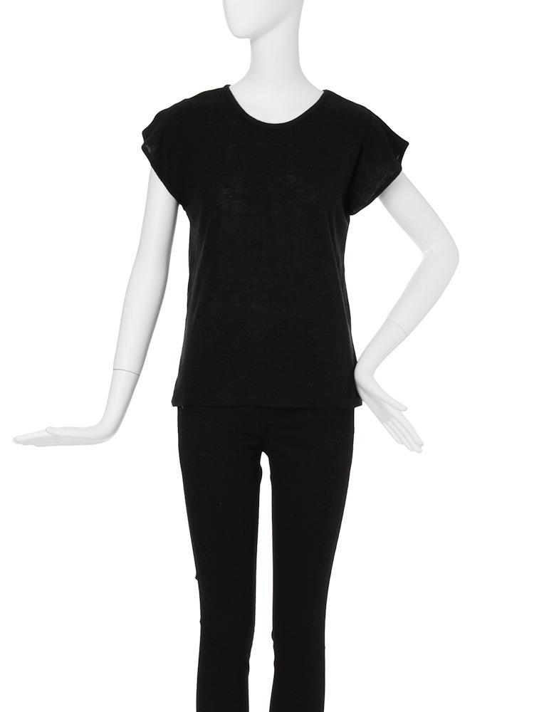 【CASUAL】テレコフレアスリーブTシャツ(ブラック-F)