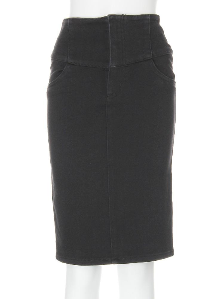 【CASUAL】デザイン切替ミドルタイトスカート(ブラック-1)