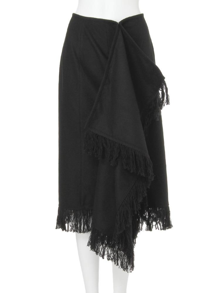 【CASUAL】フリンジラップスカート(ブラック-1)