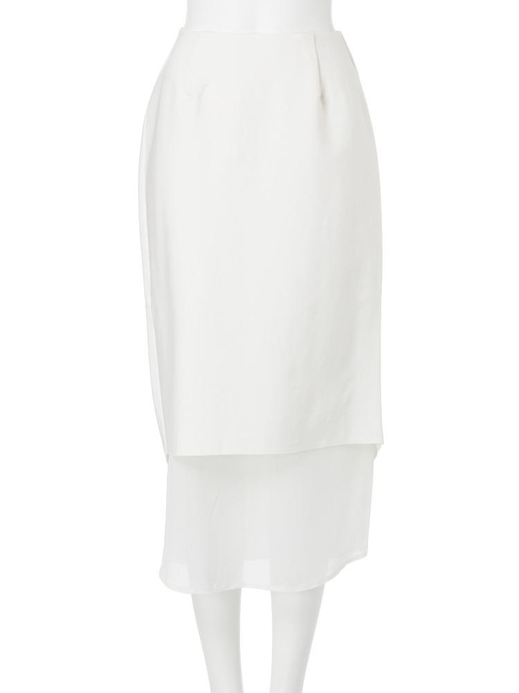 【MODE】BackスリットIラインロングスカート(オフホワイト-1)