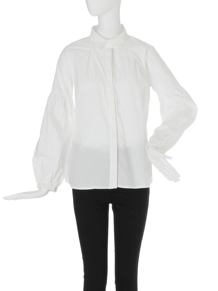 【FEMININE】タックスリーブ2WAYシャツ(ホワイト-F)
