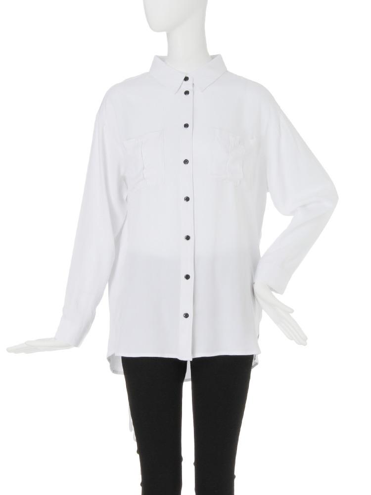【CASUAL】BackレースUPオーバーシャツ(ホワイト-F)