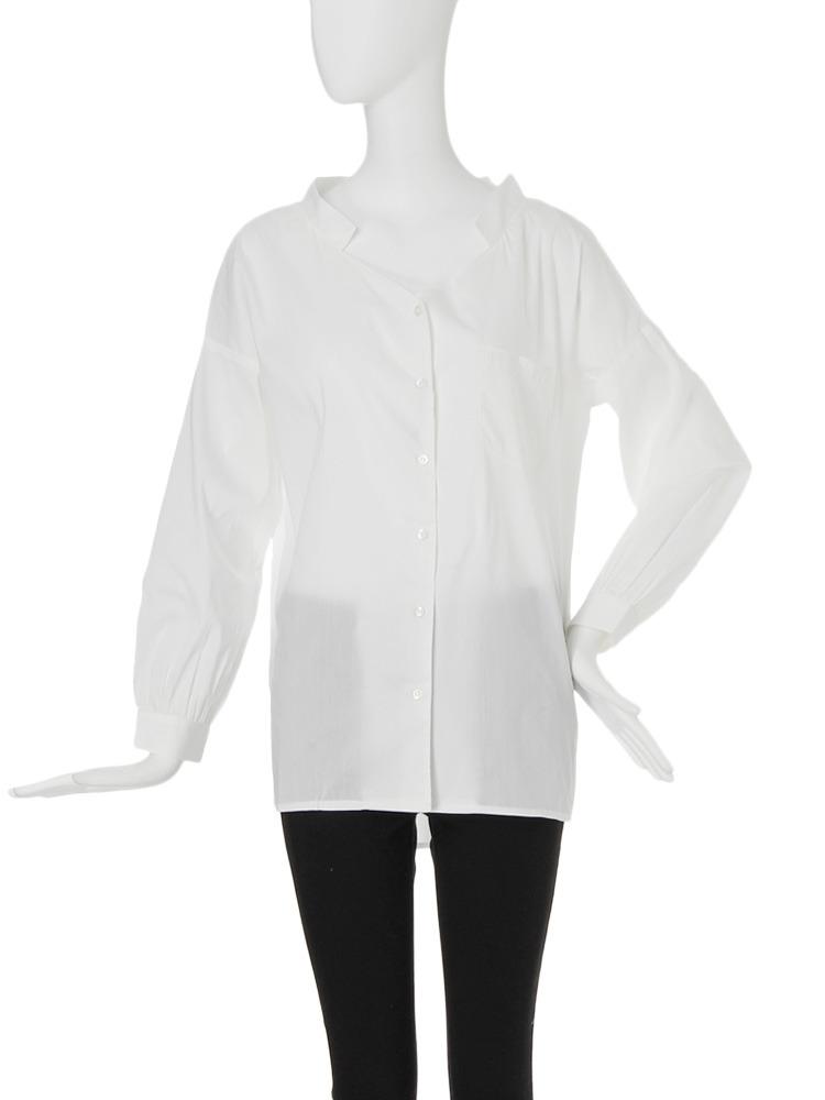 【FEMININE】ロングリラックスデコルテシャツ(ホワイト-F)